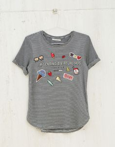 BSK striped, text, pins and patches top - BSK teen - Bershka Turkey