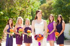 A variety of styles and shades of purple  The Secrets of Successful Mismatched Bridesmaids 3.0 via Belle The Magazine