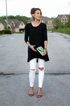 Style for over 35 ~ long tee, white denim, palm print, heels, leather earrings, cuff