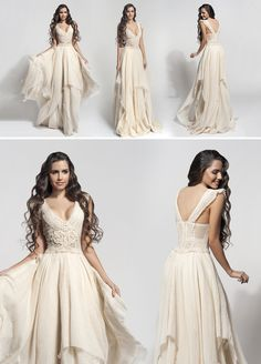 """""""Cloe"""" vintage wedding dress. In Atelier Zolotas, we choose authentic vintage charm. Handmade is the essence of our philosophy in our boho bridal gowns."""