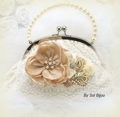 Bridal Clutch Vintage Inspired Purse in Cream by SolBijou on Etsy