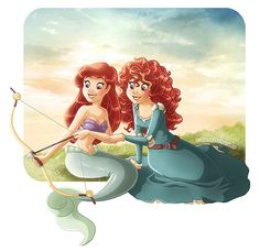 Brave Merida and the Little Mermaid Ariel Disney Magic, Disney And Dreamworks, Disney Pixar, Walt Disney, Disney Crossovers, Disney Movies, Disney Characters, Disney Stuff, Disney Fan Art