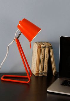 Guiding Spotlight Desk Lamp by Present Time - Orange, Mod, Mid-Century, Solid, Dorm Decor Retro Home Decor, Vintage Decor, Desk Lamp, Table Lamp, Desk Inspiration, Interior Inspiration, I Love Lamp, Concrete Lamp, Urban