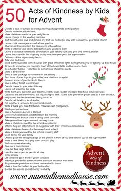 50 Acts of Kindness by Kids for Advent! Also comes with several free printables, including this poster and some cute Christmas trees with the kindness ideas on them!