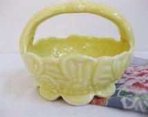 Vintage Pottery Planter Basket USA 254   vc