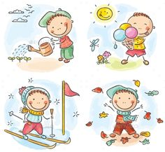 Buy Four Seasons by katya_dav on GraphicRiver. Little boy's activities during the four seasons Art Drawings For Kids, Drawing For Kids, Art For Kids, Drawing Drawing, Clipart, Family Drawing, Outdoor Activities For Kids, Sports Activities, Dibujos Cute