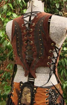 RESERVED FOR TREEWICKED FAIRY Ravens Call. Tribes of Deep Earth lace up warrioress vest.