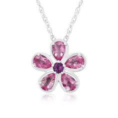 $14.99 - 2.5 Carat Pink Topaz and Purple Amethyst Sterling Silver Flower Pendant