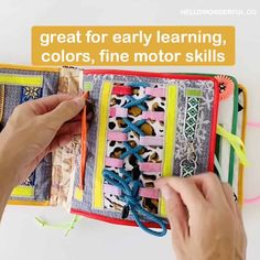 Sensory Busy Book for Toddler Preschooler learning and fine motor skills activities.