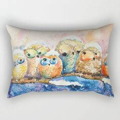 owls, funny. cut, owls, kids, nice, watercolor