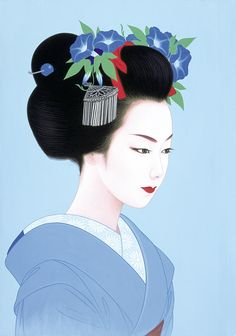 Ichiro Tsuruta - Geisha with morning glory flowers art. Japanese Drawings, Japanese Artwork, Japanese Painting, Japanese Prints, Chinese Painting, Geisha Art, Art Asiatique, Beauty In Art, Art Japonais