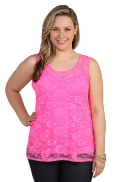 Deb Shops #neon #pink plus size all over lace #tank with tulip back