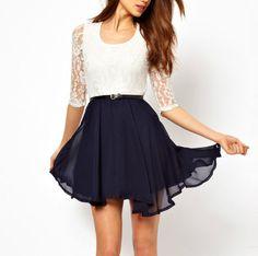 Sleeve Waist Lace Chiffon Dress