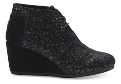 undefined Black Leather Printed Women's Desert Wedges