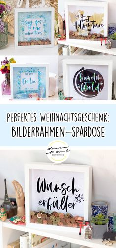 Perfektes Weihnachtsgeschenk: Bilderrahmen-Spardose A real eye-catcher gift for birthdays, Mother's Day, weddings, Christmas or just like that. You know a real travel fan who wants [. Diy Crafts For Gifts, Money Box, Diy Weihnachten, Christmas Presents, Summer Vibes, Picture Frames, Happy Birthday, Deco, Creative