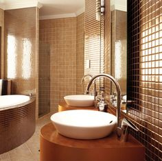 Bathroom Simple Cozy Modern Bathroom Designs With Soft Brown Tile Wall And White Bowl Sink With
