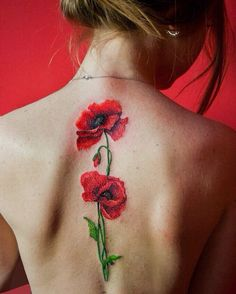 poppy flower tattoo by Eugenia Ignatova