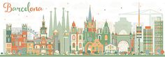Abstract Barcelona Skyline with Color Buildings.