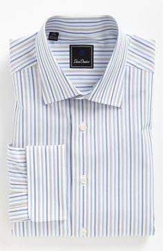 b0ec405e0e David Donahue Regular Fit Dress Shirt - Blue Stripe - Nordstrom Fitted  Dress Shirts