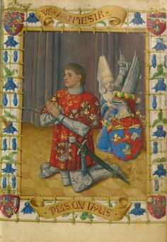 Simon de Varie Kneeling in Prayer; Jean Fouquet (French, born about 1415 - 1420, died before 1481); Tours, France; 1455; Tempera colors, gold paint, gold leaf, and ink on parchment; Leaf: 11.4 × 8.3 cm (4 1/2 × 3 1/4 in.); Ms. 7, fol. 2; Partial gift of Gerald F. Borrmann; J. Paul Getty Museum, Los Angeles, California