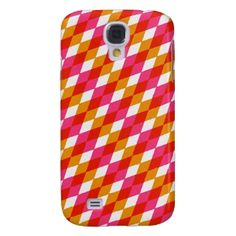 Trendy and pretty Samsung Galaxy S4 case. Beautiful red, hot pink and orange funky abstract argyle squares pattern. Colorful, ornate and modern deco design. Vintage retro harlequin diamonds motif for the hip fashion trend setter, 60s 70s or 80s art nouveau decor lover. Cute, elegant and fun birthday present or Christmas gift. Classy, chic and cool cover for the girly girl or sophisticated woman. Also for iPod Touch 5G, Samsung Galaxy S2 S3, Motorola Droid Razr, iPhone 3 4 5, iPad, etc.