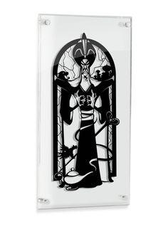 Jafar Aladdin silhouette hand cut paper craft handmade framed