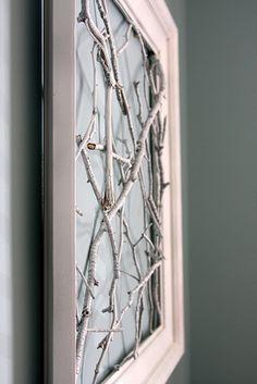 DIY stick art = sticks/twigs + frame + white spray paint (or leave natural wood)+ hot glue gun Twig Art, Branch Art, Branch Decor, Ikea Frames, Frames Decor, Stick Art, White Spray Paint, Outdoor Crafts, Bedroom Art