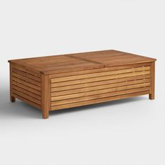 Wood Praiano Outdoor Storage Coffee Table - v1