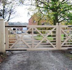 As new homes keep getting larger and larger, so too has the trend toward designing new garages to accommodate more (and bigger) vehicles as well as a host of storage needs. Garage design has started receiving more attention than it used to. Farm Gate, Farm Fence, Fence Gate, Fencing, Front Gates, Entrance Gates, Driveway Entrance, Electric Gates, Wooden Gates