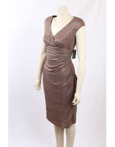Stunning Bronze Metallic Formal dress / Cocktail Dress by Ralph Lauren. The dress is very flattering with v-neck and gathering at the waist and is a size Metallic Formal Dresses, Metallic Cocktail Dresses, Premium Brands, How To Make, How To Wear, Bodycon Dress, High Neck Dress, Ralph Lauren, Bronze