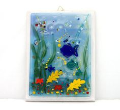 Fused Glass Painting   teal blue sea landscape by virtulyglass, $44.00