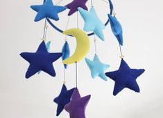 Starry Night Mobile  Blue Night Clouds Moon Stars Felt Mobile Mobiles For Kids, Mobile Kids, Baby Crib Mobile, Baby Cribs, Night Clouds, Felt Mobile, Stars And Moon, Girl Nursery, Baby Love