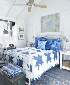 Bright Blue And White Bedroom - ELLEDecor.com