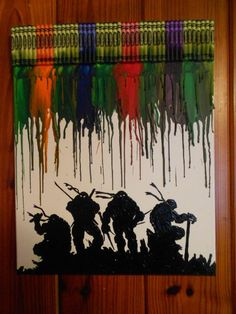 Teenage Mutant Ninja Turtles Melted Crayon Painting--thinking about doing this myself for my nephews christmas gift this year Ninja Turtle Room, Ninja Turtle Party, Crayon Painting, Crayon Art, Melting Crayons, Pics Art, Teenage Mutant Ninja Turtles, Cool Art, Awesome Art