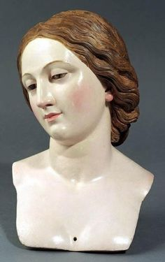"""hismarmorealcalm: """" Giovanni Battista Polidoro A Processional Bust of a Female Saint Lime-wood with original polychrome """" Mannequin Art, Half Dolls, Head & Shoulders, Anatomy Reference, Heart Art, Religious Art, Wood Sculpture, Mannequins, Antique Dolls"""