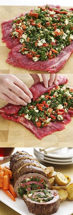 Flank steak stuffed with spinach, blue cheese roasted red peppers. I w… Flank steak stuffed with spinach, blue cheese roasted red peppers. I would substitute goat cheese for blue cheese. Flank Steak Recipes, Meat Recipes, Dinner Recipes, Cooking Recipes, Healthy Recipes, Recipies, Yummy Recipes, Water Recipes, Oven Recipes