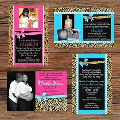 Leopard, Cheetah, Hot Pink, Turquoise, Baby Shower Invitations or Thank You Cards - BOY or GIRL by PoshPrintPhotography