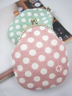 Peach and Pear Polka Dots Clasp Purse Coins Bag by OnonHandicraft
