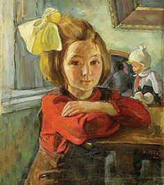 Неизвестный художник. —Девочка с бантом.  : 1948 г.