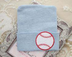 BOYS Baseball Newborn Hospital Hat, baseball beanie, infant beenie, hospital take home hat, boys sports, baby beenie by Lil Miss Sweet Pea