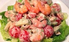 Festive salad with cherry tomatoes and shrimp