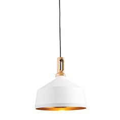 Available through Ocean Lighting.  1300mm drop.  Could do white one (living) and a black on (dining)    A ceiling pendant finished in matt black to the exterior with a gold hammered effect to the inner and complimented by a natural wood trim. Fully adjustable up to 1300mm drop. Suitable for use with LED lamps and dimmable Compatible with LED lamps Dimmable Complete with fixing accessories Matt black & light wood Constructed from aluminium alloy & wood