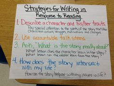 Strategies for Writing About Reading Chart - Writer's Workshop Lucy Calkins Literary Essays Unit