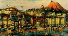 Rendering of the restaurant area and Tram station of Port Discovery