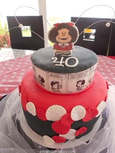 Pastel decorado con fondant de MAFALDA en Guatemala ♥ cake edible print forty years red black dots fan pompoms girl soup sopa Joaquín Salvador Lavado Tejón Mendoza Argentina #labarradulce #Guatemala #cupcakes #cubiletes #pasteles #cakes #designcakes #pasteldediseño #sabores #flavors #Mafalda #Quino #Argentina #comic #caricatura #chistes #periodico #edibleprint #fondant #Guate