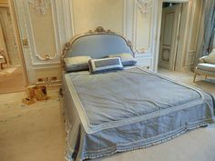 Lot 251 - King size bed Louis XV classic style headboard carved and moulded with upholstered centre pad with a