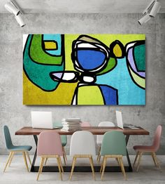 Vibrant Colorful Abstract-0-18. Mid-Century Modern Green Blue Canvas Art Print, Mid Century Modern Canvas Art Print up to 72 by Irena Orlov