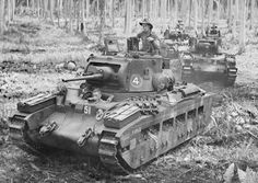 """II Matilda tanks of the Australian Armoured Regiment make their way through the remnants of a coconut plantation at the Japanese strongpoint of Buna, on the north coast of Papua. """"The Battle of the Beaches. Naval History, Military History, Matilda, Anzac Soldiers, Tank Warfare, Military Drawings, Ww2 Photos, Armored Fighting Vehicle, Military Modelling"""