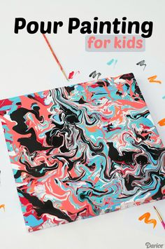 Pour Painting is so popular right now. I wanted to create a fun how to tutorial and share this easy kids craft with you! easy art EASY POUR PAINTING ART FOR KIDS Easy Art Projects, Arts And Crafts Projects, Projects For Kids, Diy For Kids, Kids Crafts, Hero Crafts, Arts And Crafts For Adults, Arts And Crafts House, Easy Arts And Crafts
