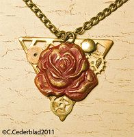 Red rose steampunk necklace by skuggsida
